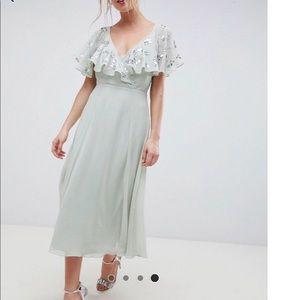 ASOS Mint Green Midi Wrap Dress